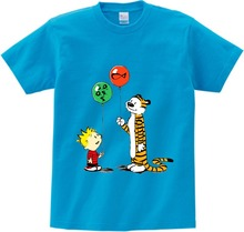Boys t shirt CALVIN AND HOBBES print summer top kids t-shirt children clothing boys girls cartoon Short Sleeve T  NN