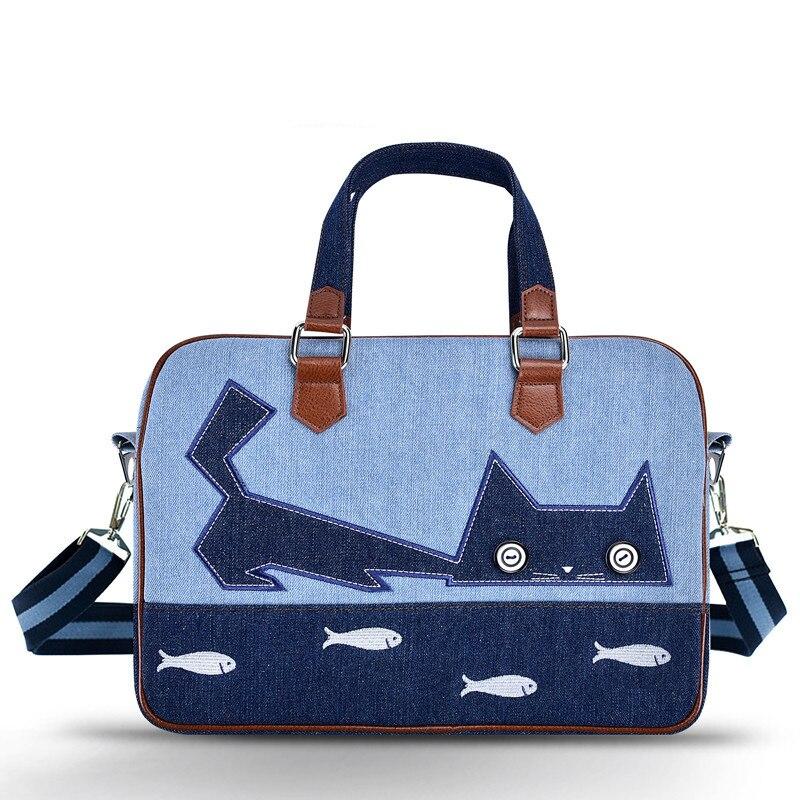 Люксовый бренд джинсовой плеча сумочку дамы сумка для ноутбука 11 12 13 13.3 14 15 15.6 дюймов Модные женские Messenger notebook сумка