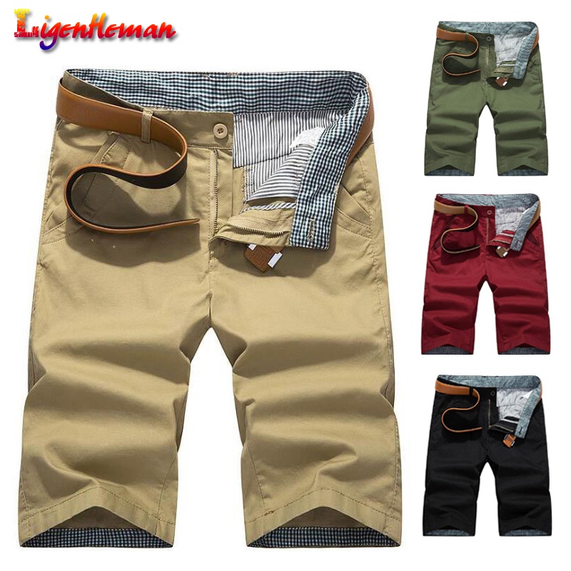 Man's Casual Shorts Male Breathable Shorts Clothing Knee Length Shorts For Men New Pocket Cargo Shorts Men Plus Size 28-40 Solid