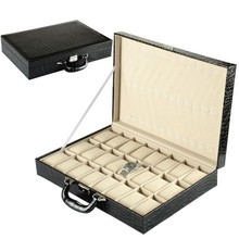 24 Grids Black Leather Watch Box High Quanlity Fashion Display Watch Boxes New Rectangle Storage Box A014