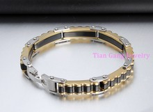 8.66″ PUNK Biker 316L STAINLESS Steel Mens Bracelet Fashion Jewelry Bike Bicycle Chain Bracelet Jewelry Silver Gold Black