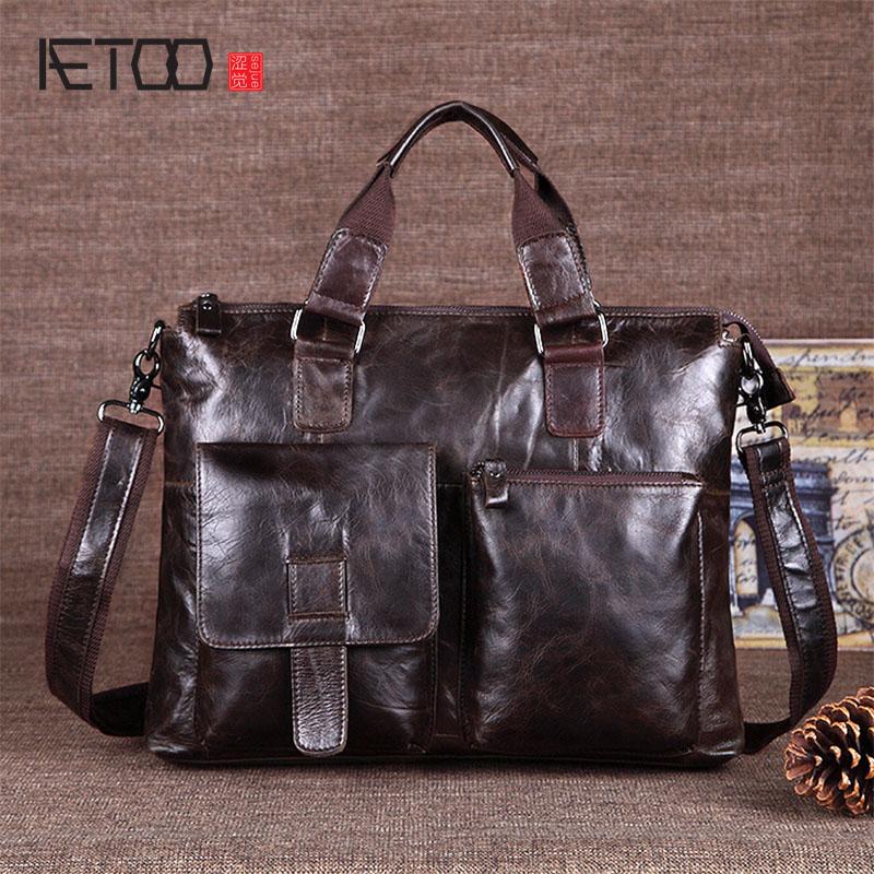 2016 korean tassels weave handbag fashion concise single shoulder package woman package AETOO Korean casual fashion leather men's handbag shoulder twill tide package cowhide men's bag