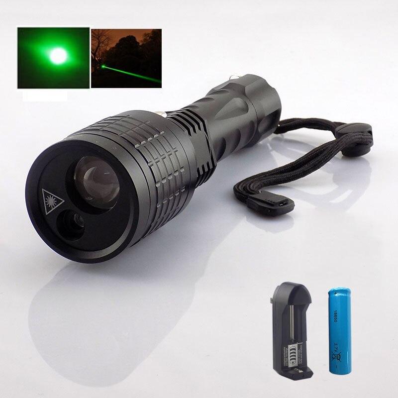 2 в 1 светодиодный фонарик с зеленым лазерная указка лазер свет поиска свет 800 люмен светодиодной вспышкой света Лампы для мотоциклов для Охо...