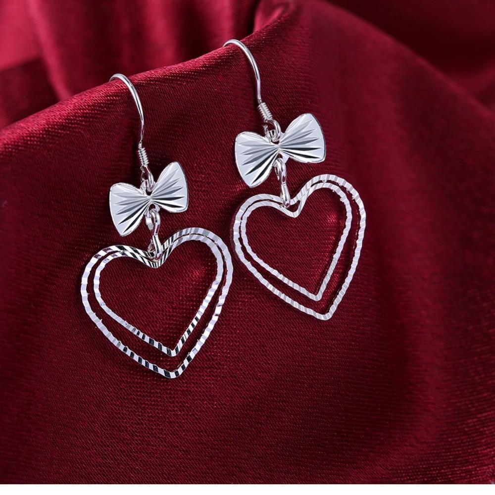 2018 new ladies fashion pop classic jewelery heart pendants 925 silver earrings wholesale LKNSPCE865