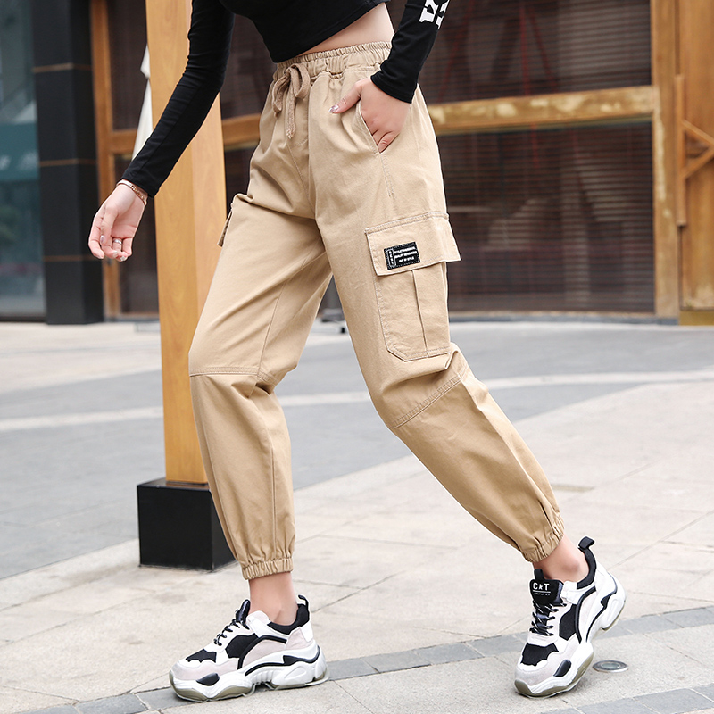 Cotton Cargo Pant Women High Waist Hip Hop Trousers for Women Loose Harem Pants 2019 New Casual Ankle-Length Pants