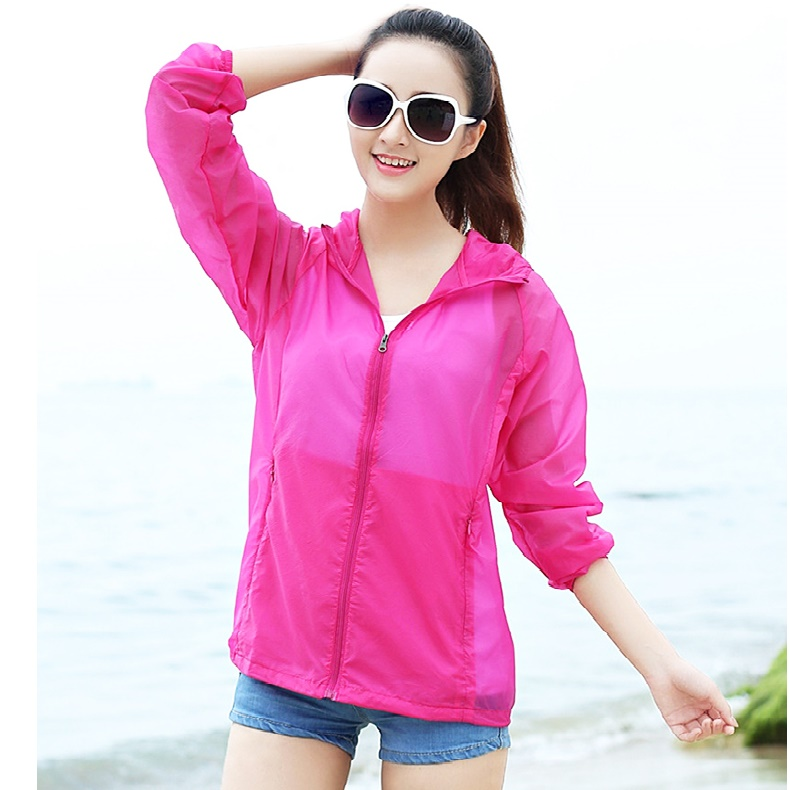 Fashion Beach Women Sunscreen Ultra Thin Coats Hooded Transparent Sun Protection Coat Big Size Ultra Light Breathable Basic Coat