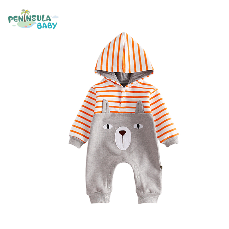 Baby Cartoon Animal Clothing Autumn Winter Warm Thicken Rompers Baby Girls Jumpsuit Toddler Boys Hooded Long Sleeves Clothes christmas newborn cashmere baby rompers infant clothing winter warm thicken cotton baby jumpsuit long sleeve boys girls sweater