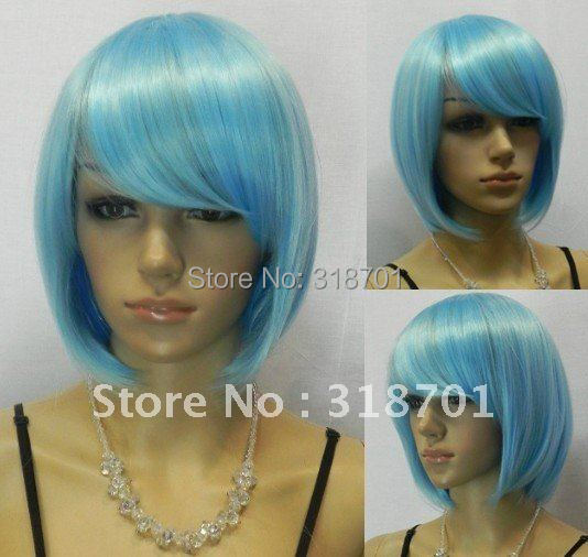 (Free Shipping) Exquisite short Light blue hair womens wigs