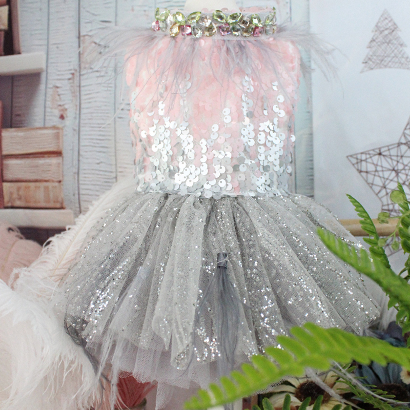 OnnPnnQ Classical Style Dog Dress Fake Two Piece Skirt Handmade Embroidered Puppy Glistening Wedding Dress For