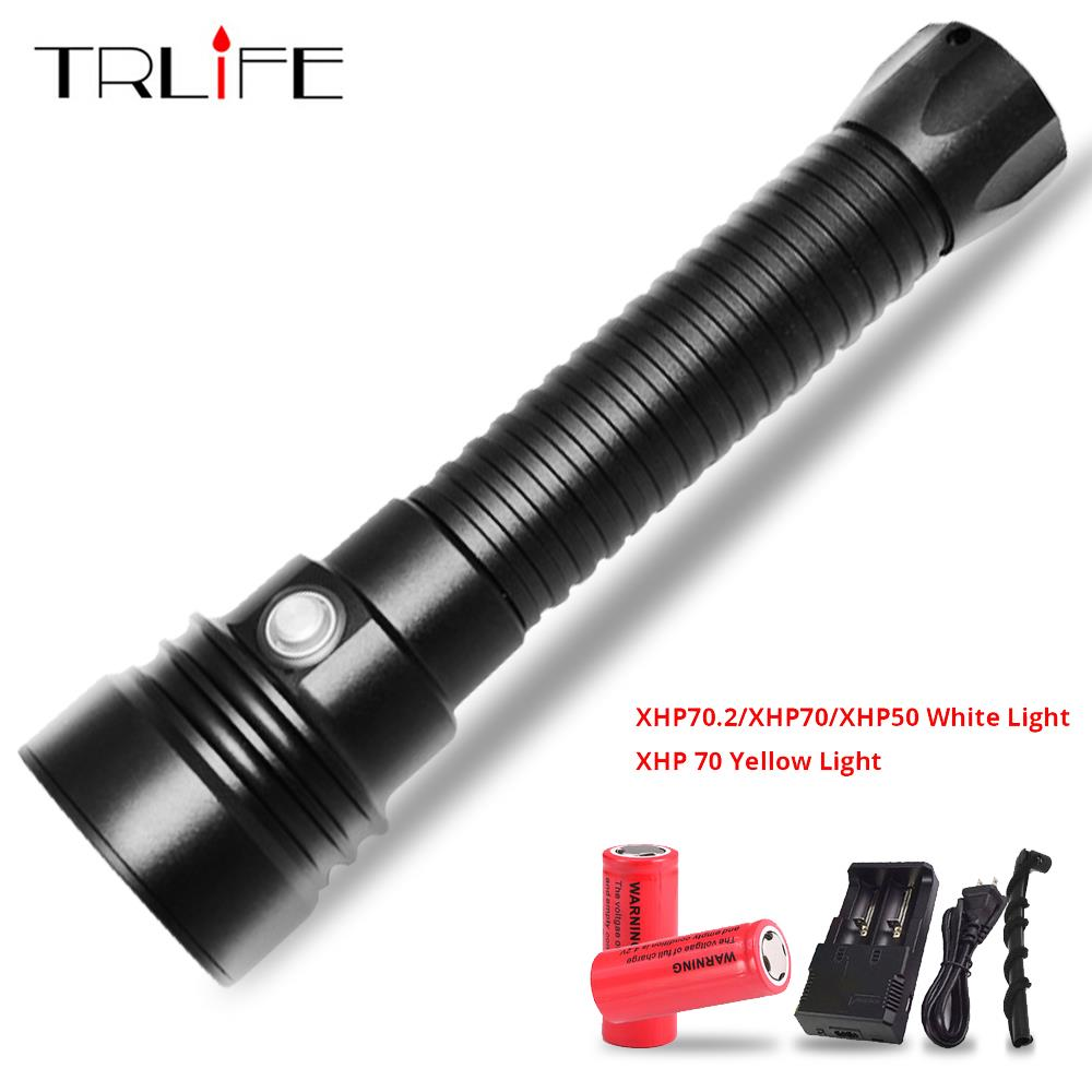 LED Diving Flashlight XHP70 2 70 50 6000lums White Yellow Light Underwater 200M Waterproof Scuba Torch