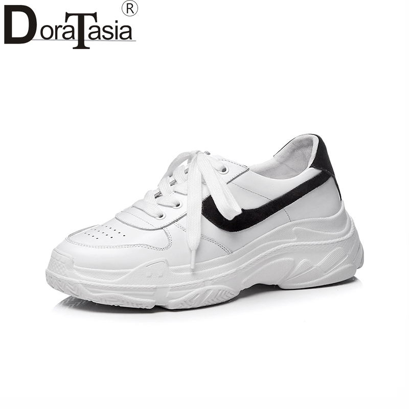 Doratasia New Genuine Leather Brand Casual Flats Women Shoes lace-up Shoes Woman Leisure Patchwork White Fashion Flats Sneakers instantarts funny nursing coordinates pattern students breathable sneakers fashion women mesh flats shoes casual lace up flats