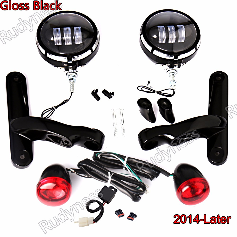 Burst LED Auxiliary Lighting Gloss Black Bracket&Red Turn Signals For Harley Touring Street Glide 2014-2017 Models burst led auxiliary lighting black brackets with turn signals for harley street glide flhx 06 07 08 13