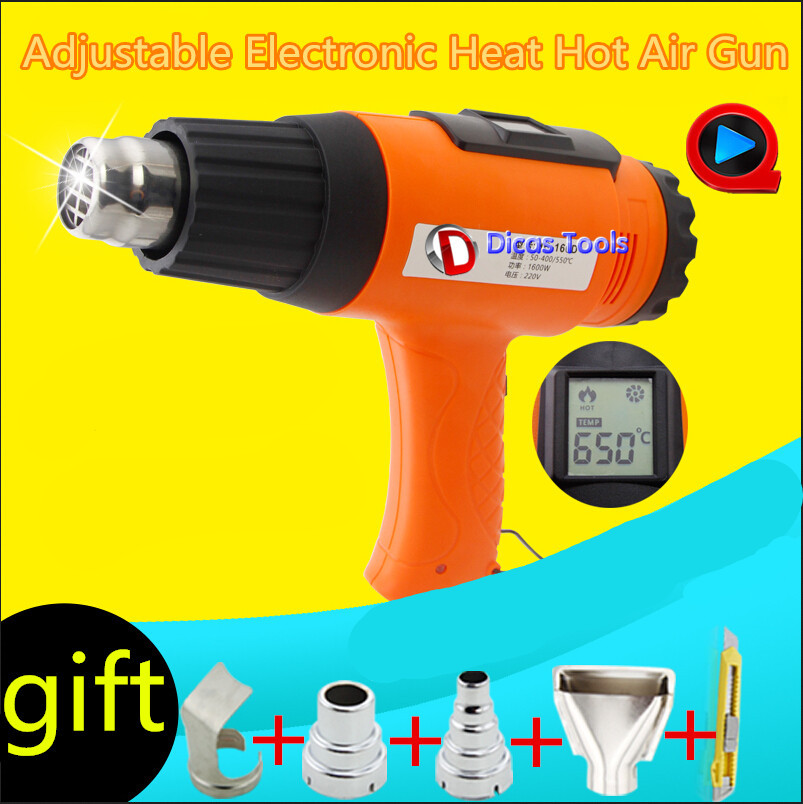240V heat gun electric baking gun  hot air gun industrial drying gun hot air blower plastic welding torch with 4 nozzle HB-160D ems dhl fast shipping 230v 3000w heat element for for heat gun handheld hot air plastic welder gun plastic welder accessories