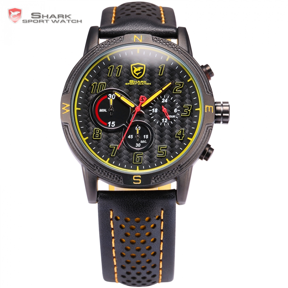 Brand Military Relogio Masculino Shark Sport Watch Men Erkek Kol Saati Chronograph Leather Band Clock Wrist Quartz-watch / SH253 frilled shark sport watch relogio black chronograph stopwatch 3 dial leather strap clock quartz military men wrist watch sh225