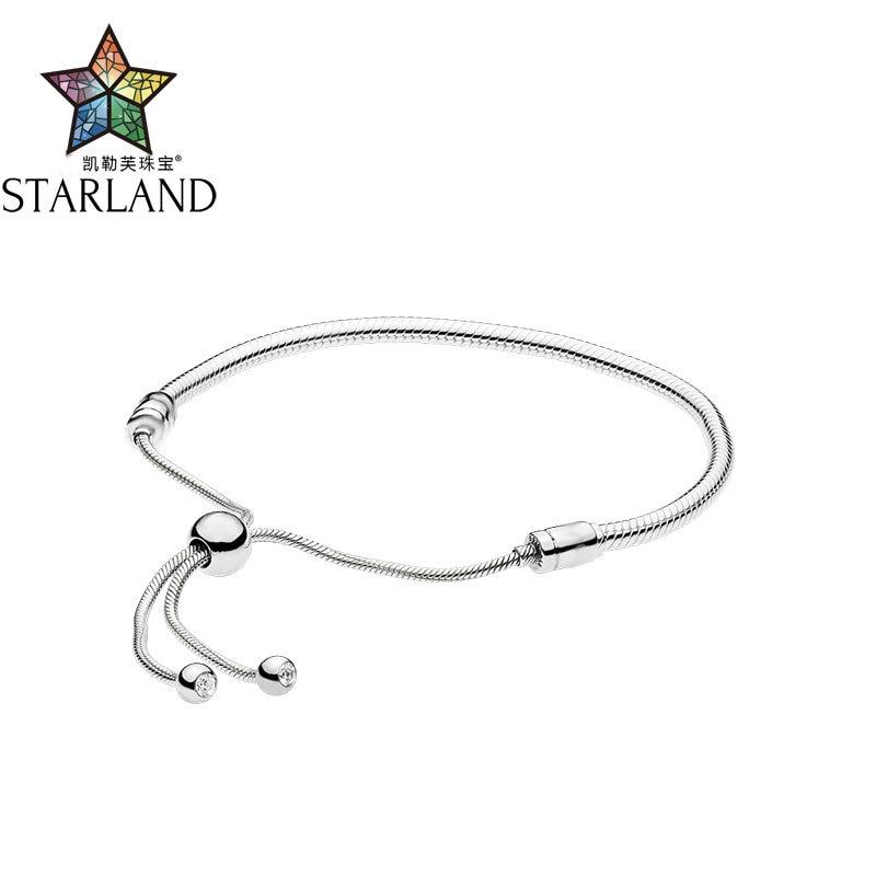 Starland 2018 Nouveau 925 Sterling Argent 28 cm réglable Serpent Chaîne Charme Bracelet et Bracelet Fit Original marque Femmes Bijoux cadeaux