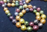 Real Natural Freshwater pearl 10x12MM Colorful baroque pearl Loose Beads one strands 35cm 15'' DIY gift