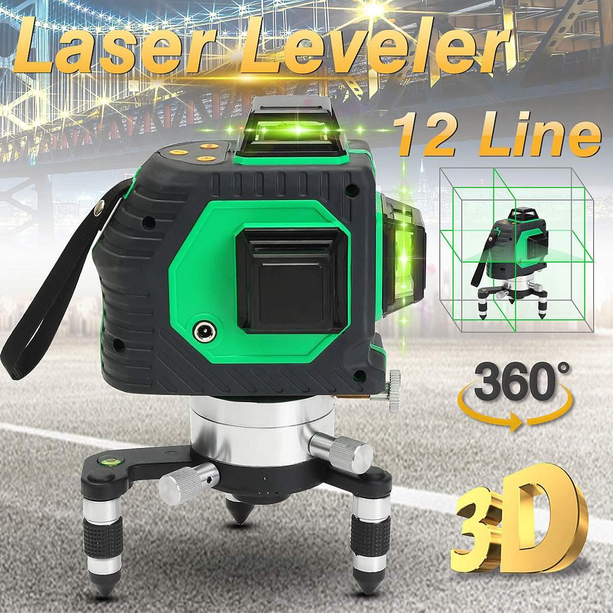 3D 12 Lines Laser Leveler Automatic 360 Degree Laser Self Leveling Cross Vertical Horizontal Level Cross Measuring Tool leter 3d red laser level self leveling 12 lines 360 degree horizontal