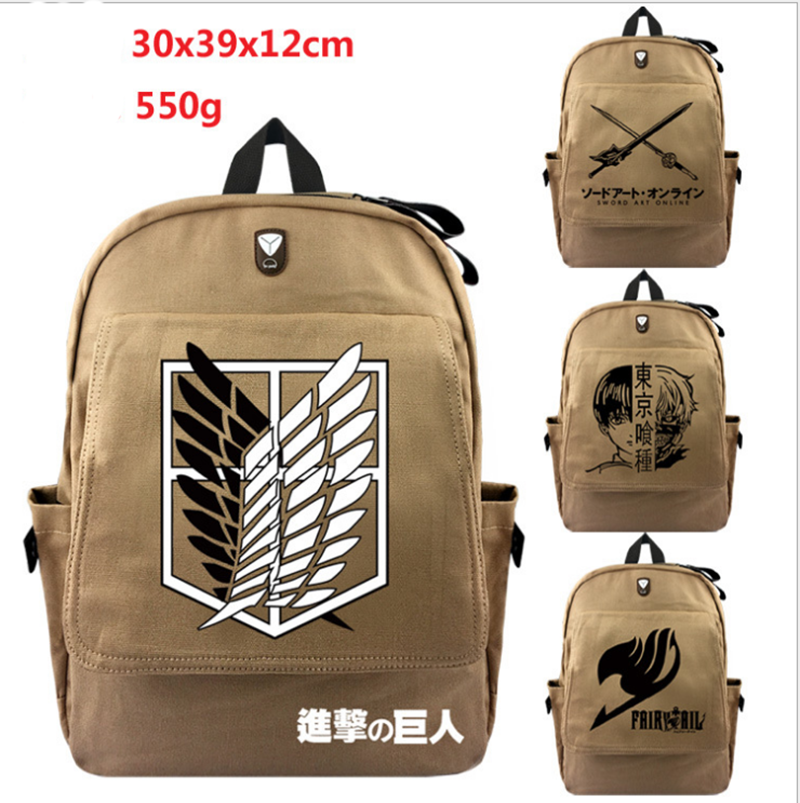 Attack on Titan Backpack For Teenagers Children School Bags Boys Grirs Tokyo Ghoul Fairy Tail Backpacks Daily Canvas Travel Bag pokemon go backpack children daily backpacks kids school bags teenagers girls boys school backpack men women travel bag