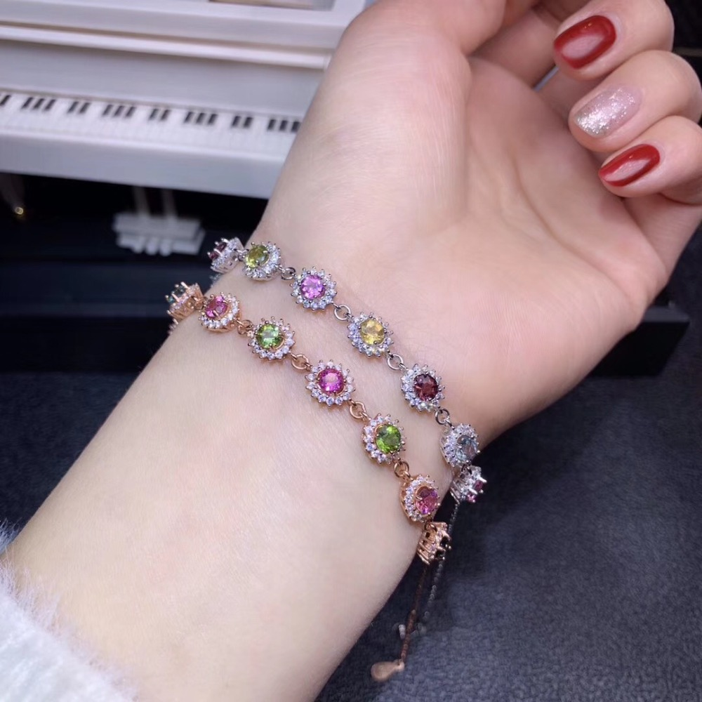 Natural and real  Tourmaline bracelet Chain bracelets 925 sterling silverNatural and real  Tourmaline bracelet Chain bracelets 925 sterling silver
