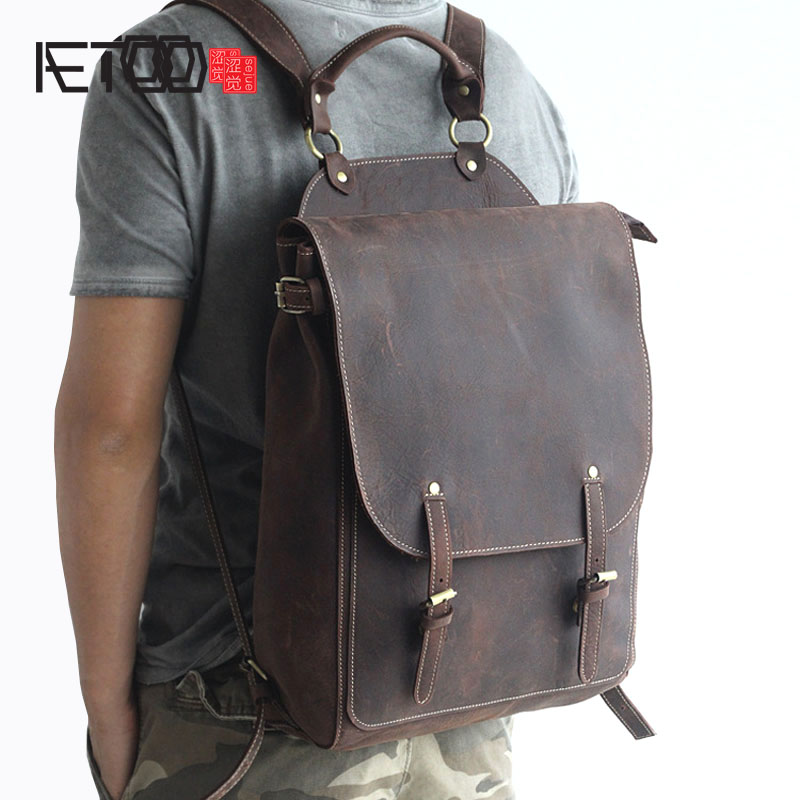 AETOO New front cowhide retro leather shoulder bag men travel backpack Europe and the United States crazy horse leather aetoo europe and the united states fashion new men s leather briefcase casual business mad horse leather handbags shoulder
