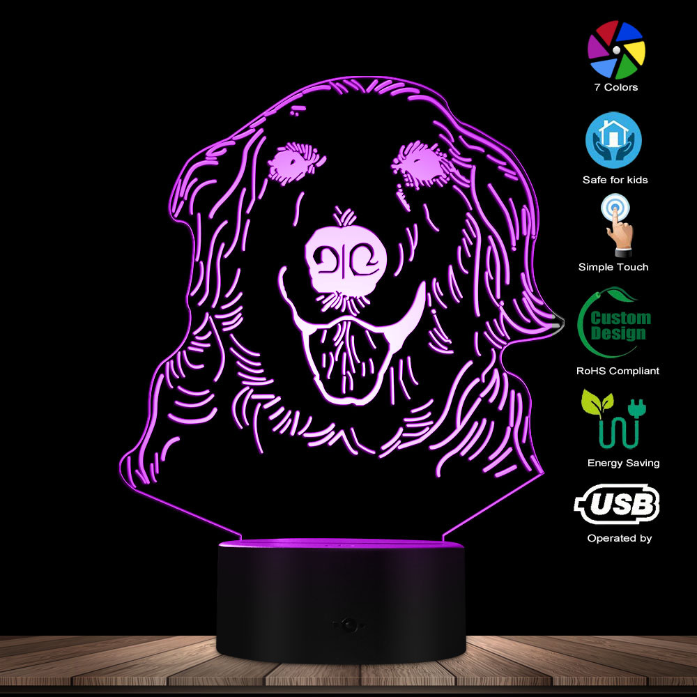 Golden Retriever 3D Optical Illusion Night Lamp Pet Puppy Canine Hound Decorative Desk Lamp Labrador Dog Glowing LED Table Lamp