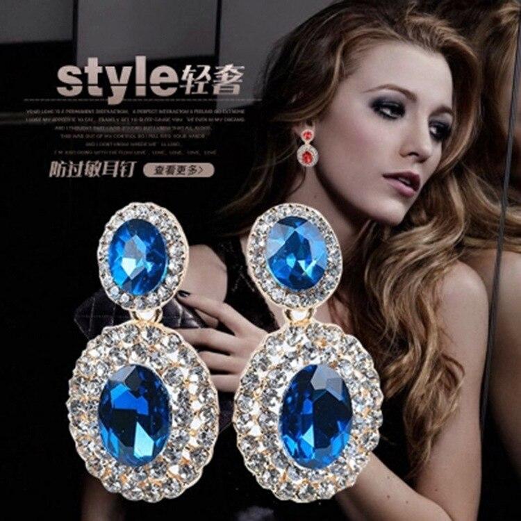 Non Pierced Earrings Luxury Exaggerated Zircon Crystal Gem Earrings Large Earrings For Women Bride Wedding Without Ear Holes