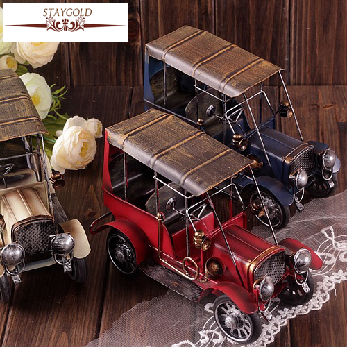 Zakka Grocery Hand-made Old Vintage Car Ford Tin Toy Nostalgia Decoration Vintage Home Decor