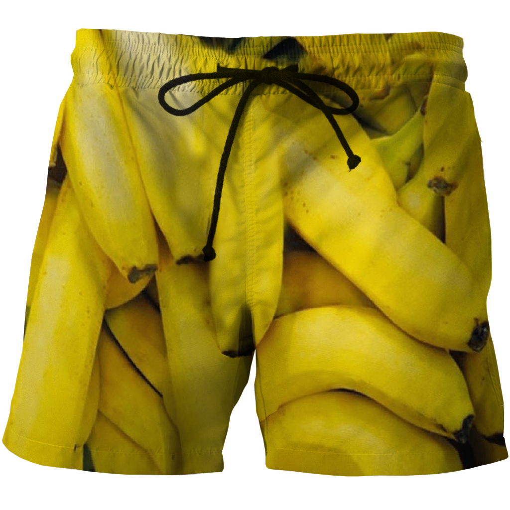 Funny Men 3D Shorts Banana Printed Summer Quick Dry Casual Waist Elastic Men Short Size S-5XL Available
