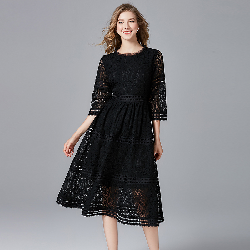 TAOYIZHUAI Summer New Arrival O Neck Regular Patchwork Fit And Flare Knee Length Casual Lace 100% Polyester Women's Dress 11618