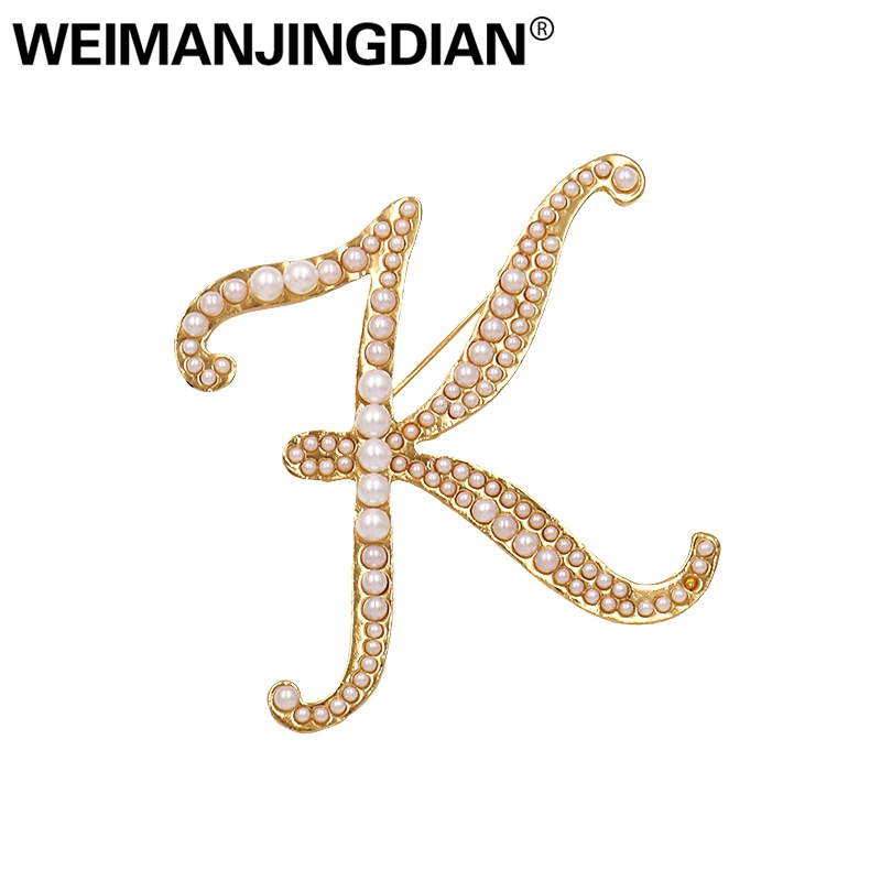 Detail Feedback Questions about WEIMANJINGDIAN Brand Simulated Pearl Golden  Letter K Zinc Alloy Brooch Pins for Women on Aliexpress.com  030b88079845