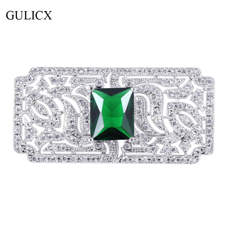 Elegant GULICX Brand Luxury Large Brooches Pins For Women White Gold Color  Blue/Red/Green CZ Square Brooch For Wedding Dress AX08