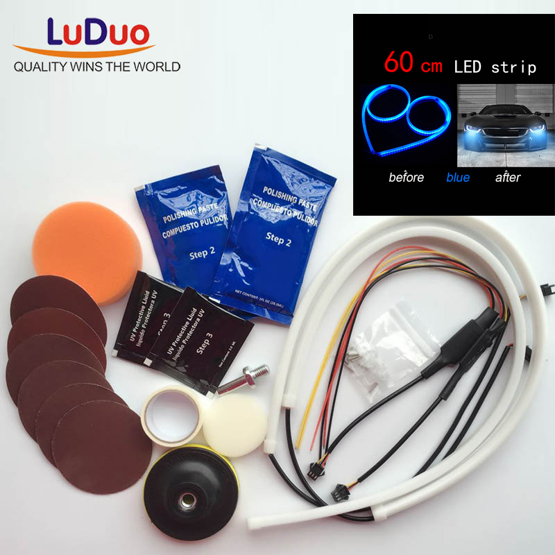 Headlamp Brightener Kit DIY headlight restoration for car lamp lenses Clean Polish paste compuesto pulidor and led light Strip headlamp polishing paste kit diy headlight restoration car plastic restore car head light motor cleaner renew lens polish kit