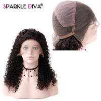Sparkle Diva Kinky Curly Full Lace Wig Peruvian Remy Human Hair Pre Plucked With Hair Line And Baby Hair Shedding Free No Tangle