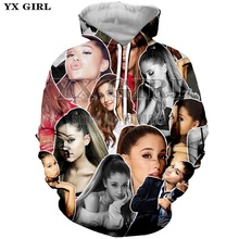 YX Girl Plus size 3d Print Tops Women Hoodie Ariana Grande Patchwork Hoodies Womens Autumn Sweatshirt Pullover Unisex Streetwear