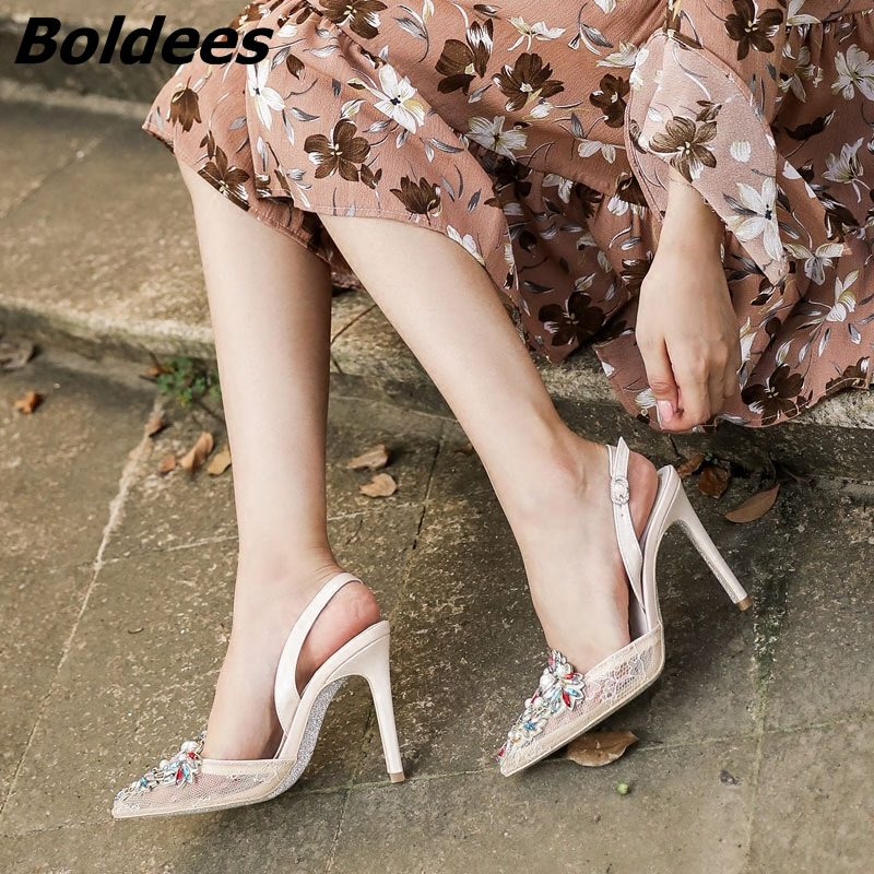 Elegante Heel 10cm Shallow Kleid Kristall Stiletto 5cm Frauen Pumps Schuh Heel Boldees 2018 7 Schnalle Cla Spitz Hochzeit Spitze 10cm High Fersen Heel q4FxCd