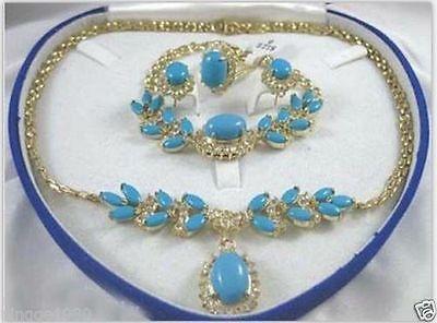 Magnifique Turquoise collier bracelet anneau boucles d'oreilles ensemble> AAA 18K GP plaqué or nuptiale large montre ailes reine JEWE Z6TY44