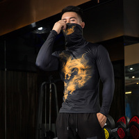 ZRCE Breathable High elastic Dust Proof Cycling Shirt Compression Shirt With Scarf Quick Dry Male Fitness Cycling Base Layers
