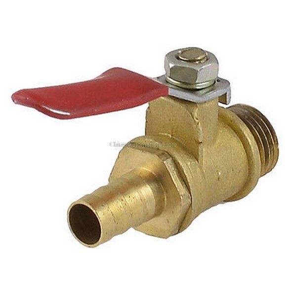 1/4 PT Male Thread to 8mm Hose Barb Plastic Lever Handle Brass Ball Valve 1 2 pt male thread to 12mm hose barb plastic cover lever ball valve brass tone discount 50