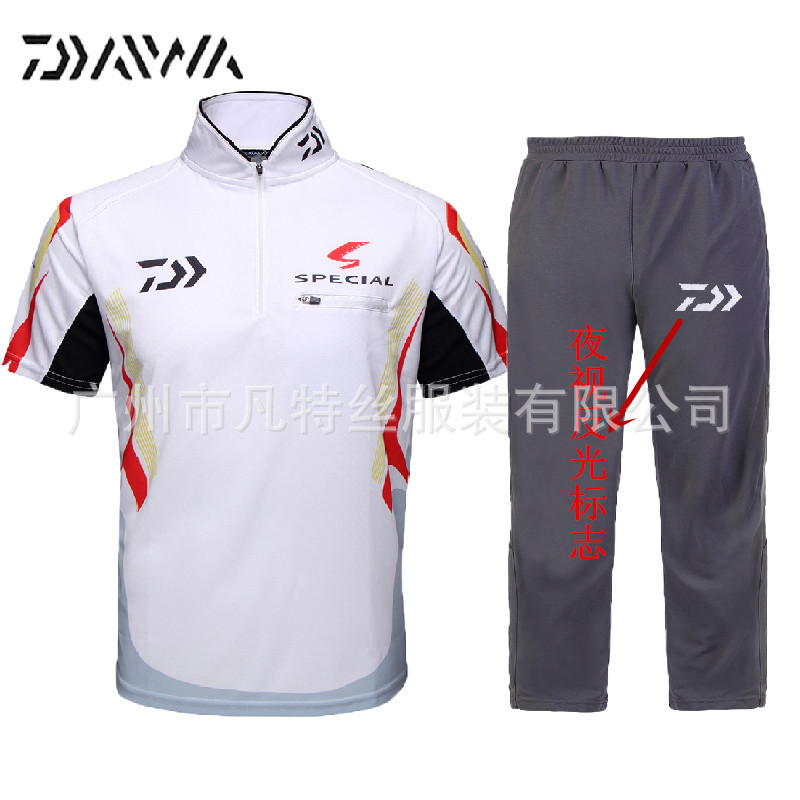Daiwa fishing set short sleeved suit collar dawa fishing for Spf shirts for fishing