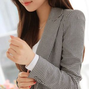 Image 4 - נשים משובץ ארוך שרוול טרייל בתוספת גודל פורמליות מעילי חליפת גבירותיי עבודה ללבוש מזדמנים הלבשה עליונה