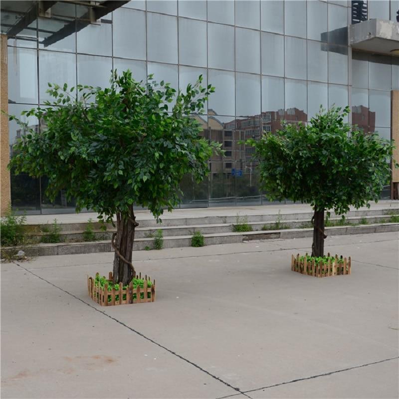 Artificial ficus microcarpa artificial grande árvore árvores falsas grande planta decoração do lobby do hotel composição - 3