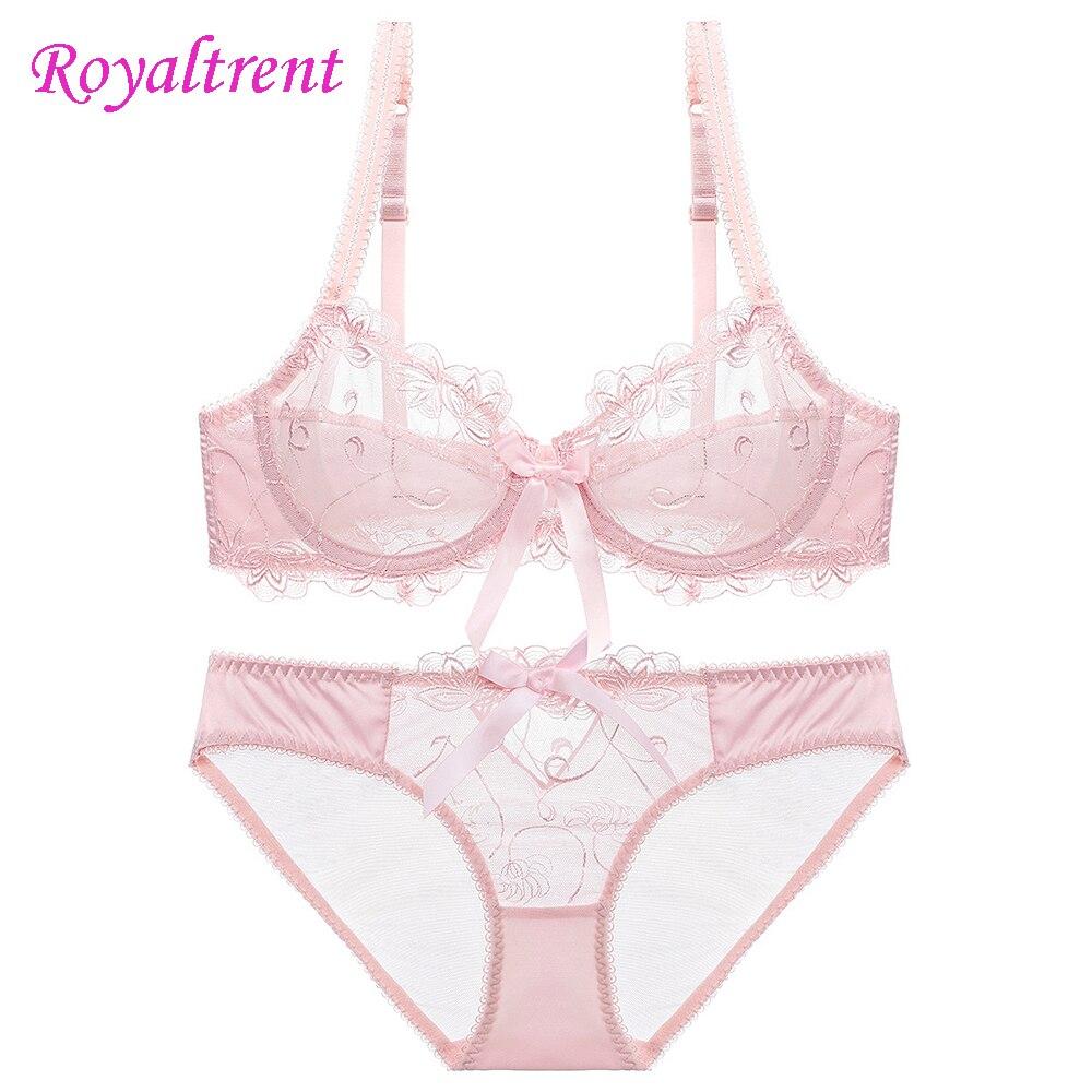 Girls Underwear Underwire Ultra-Thin Transparent Embroidery Breathable Sexy Ladies Bra Set Women'S Intimates
