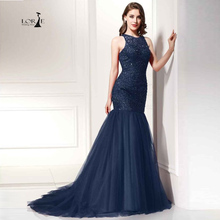 LORIE Party Evening Dress for Woman Navy Blue Mermaid Party Dresses Champagne Beaded Handmade Formal Dresses Actual Images