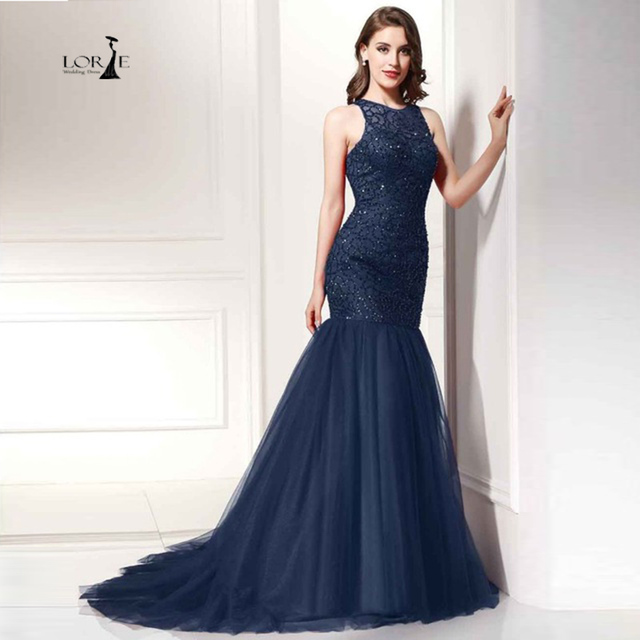 LORIE Party Evening Dress for Woman Navy Blue Mermaid Party Dresses  Champagne Beaded Handmade Formal Dresses Actual Images adf67c28c022