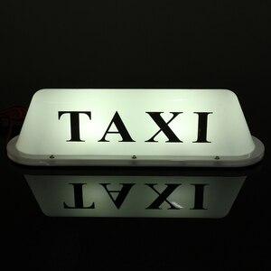Image 4 - PVC imperméable blanc de la lampe 12V de lumière de pancarte LED de cabine de voiture de toit de Base magnétique de Taxi