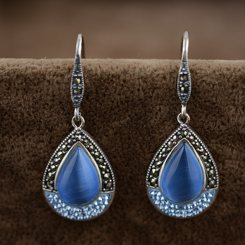 Opal earrings S925 silver inlaid colored stones Thai silver earrings wholesale multicolor female models