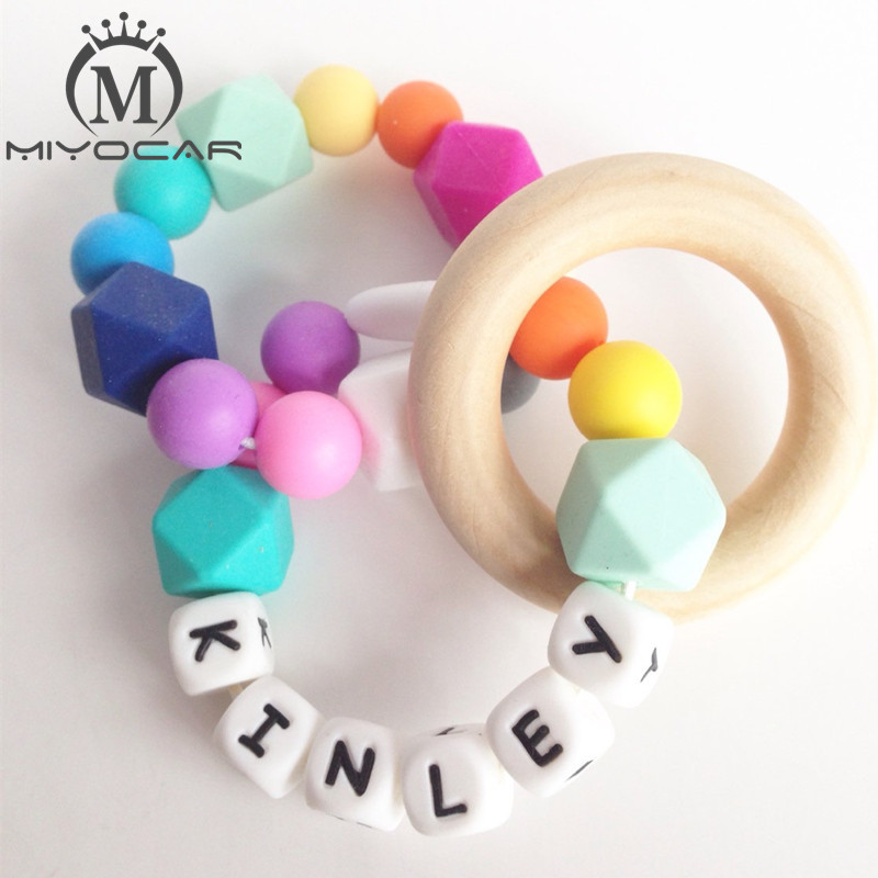 Baby Personalized Teething Ring Silicone Teether Wood Teething Ring Baby
