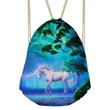 3D Printing Blue Unicorn Animal School Bag for Teenager Girls Cute Tumblr Supplies Drawstring Bookbags Schoolbags for Students(China)