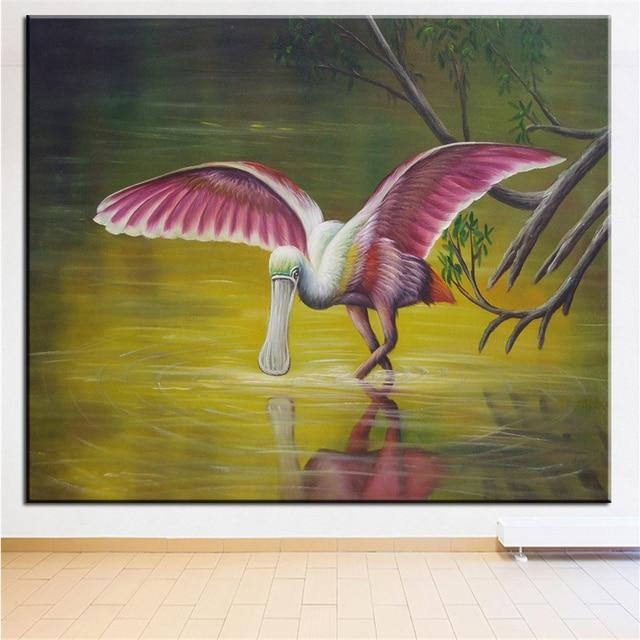 DP ARTISAN NO FRAME BIRDS DRINKING IN RIVER ANIMAL ARTS Printed Oil ...