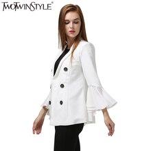 [Twotwinstyle] 2017 Весна корейский Лоскутная оборками с длинным рукавом Блейзер костюм женские пальто куртки Новая мода черно-белый цвет(China (Mainland))